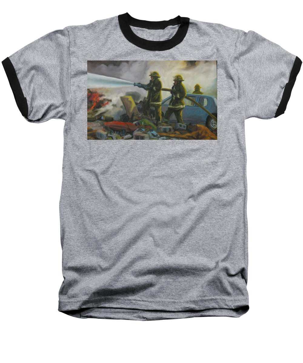 Firefighters Baseball T-Shirt featuring the painting Garage Fire by John Malone