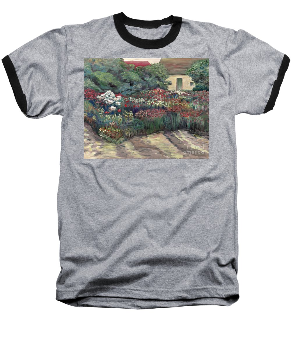 Breck Baseball T-Shirt featuring the painting Garden At Giverny by Nadine Rippelmeyer