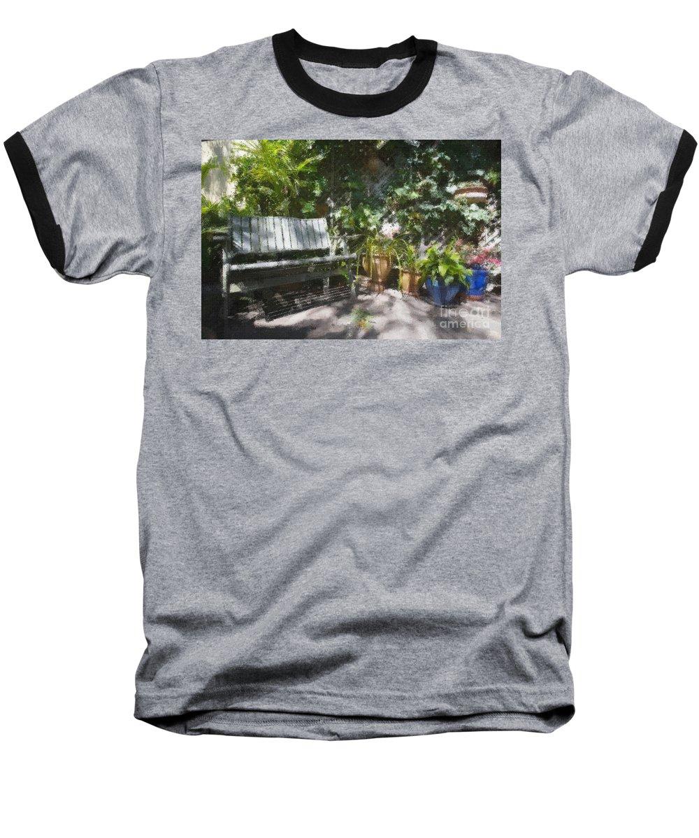 Garden Bench Flowers Impressionism Baseball T-Shirt featuring the photograph Garden Bench by Avalon Fine Art Photography