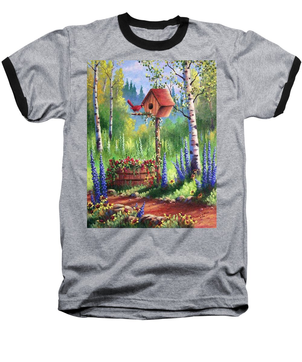 Bird Baseball T-Shirt featuring the painting Garden Birdhouse by David G Paul