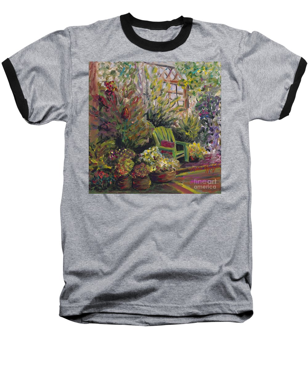 Green Baseball T-Shirt featuring the painting Garden Escape by Nadine Rippelmeyer