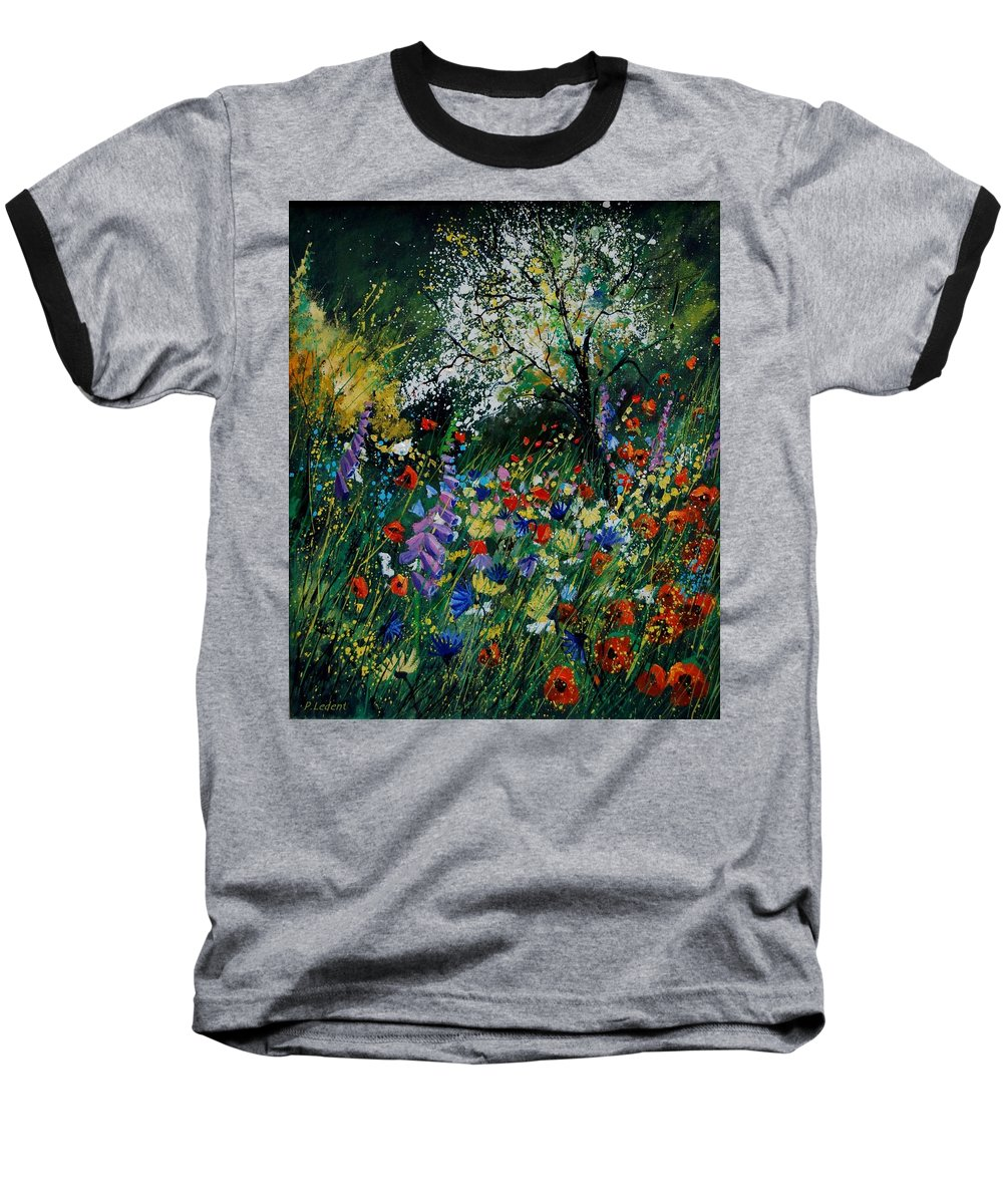 Flowers Baseball T-Shirt featuring the painting Garden Flowers by Pol Ledent