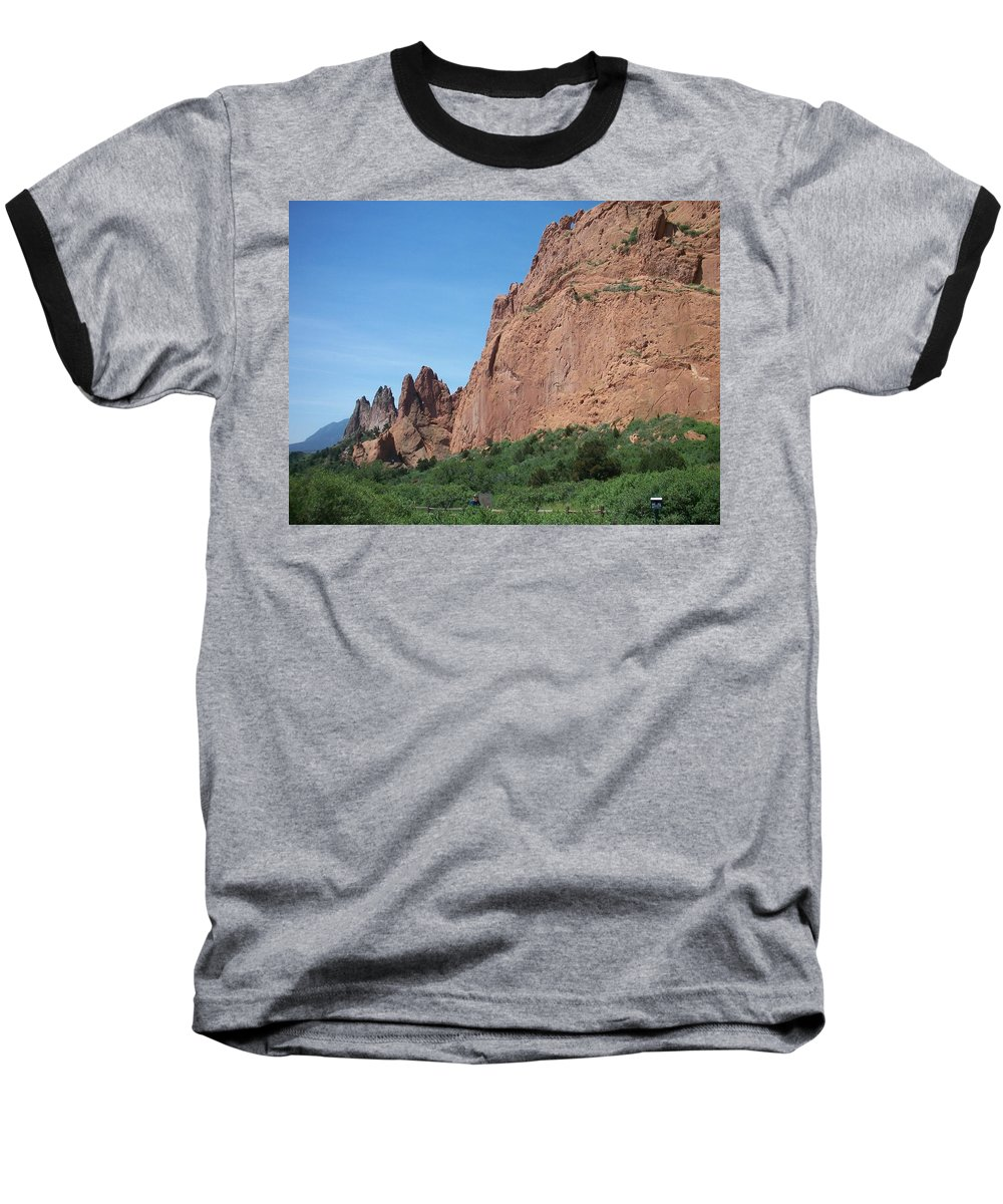 Colorado Baseball T-Shirt featuring the photograph Garden Of The Gods by Anita Burgermeister