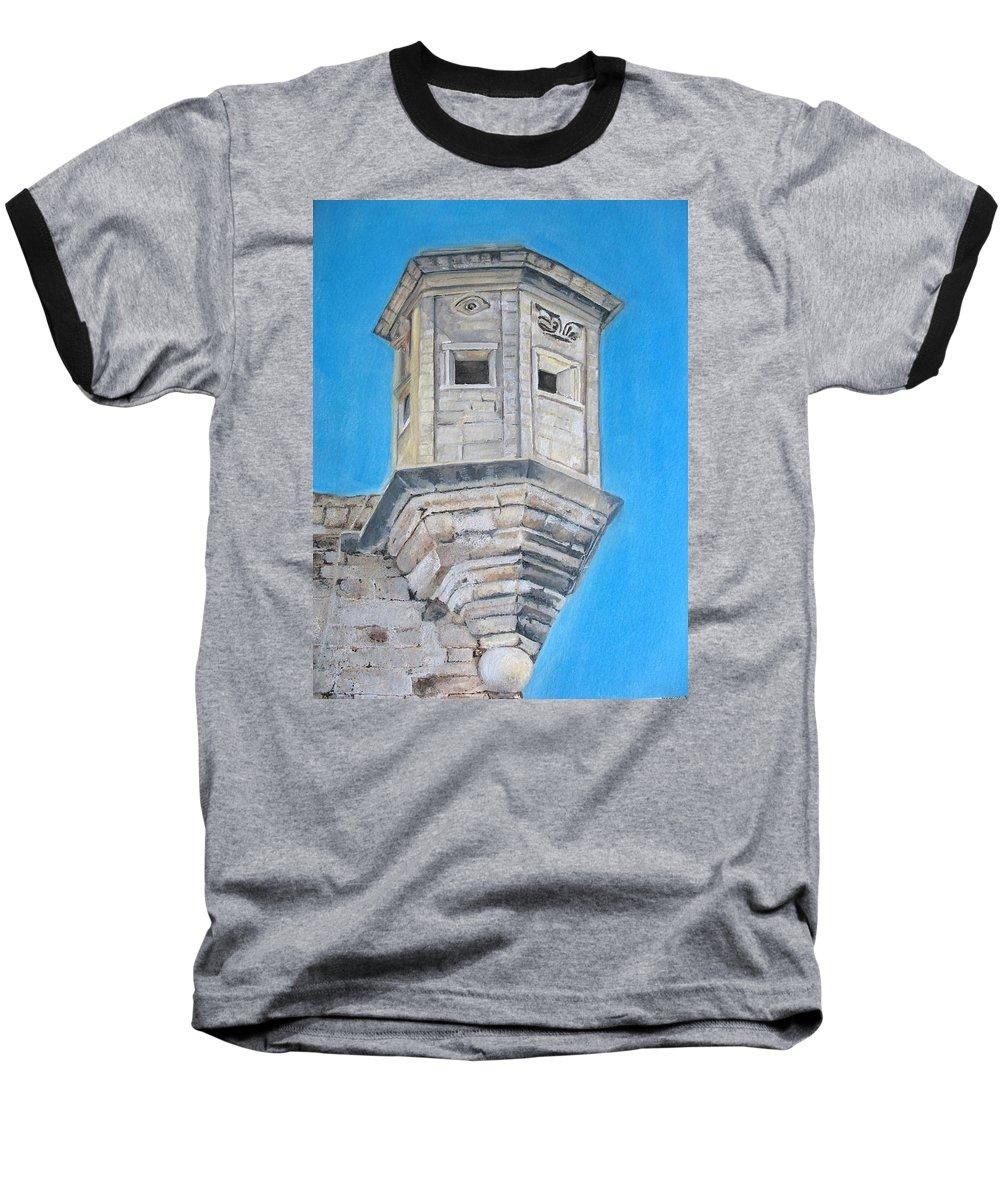 Malta Baseball T-Shirt featuring the painting Gardjola by Lisa Cini