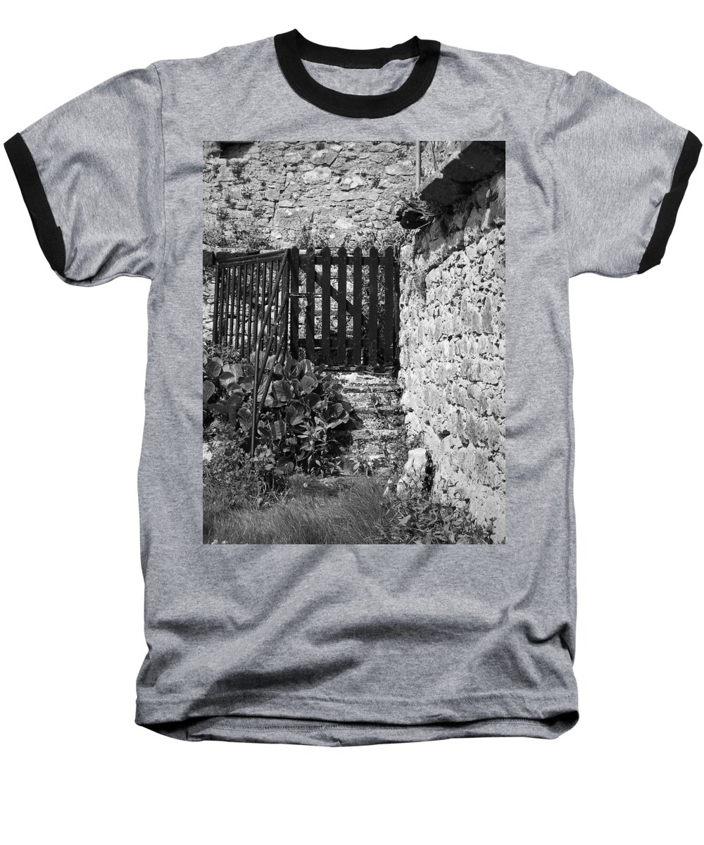 Irish Baseball T-Shirt featuring the photograph Gate At Dunguaire Castle Kinvara Ireland by Teresa Mucha