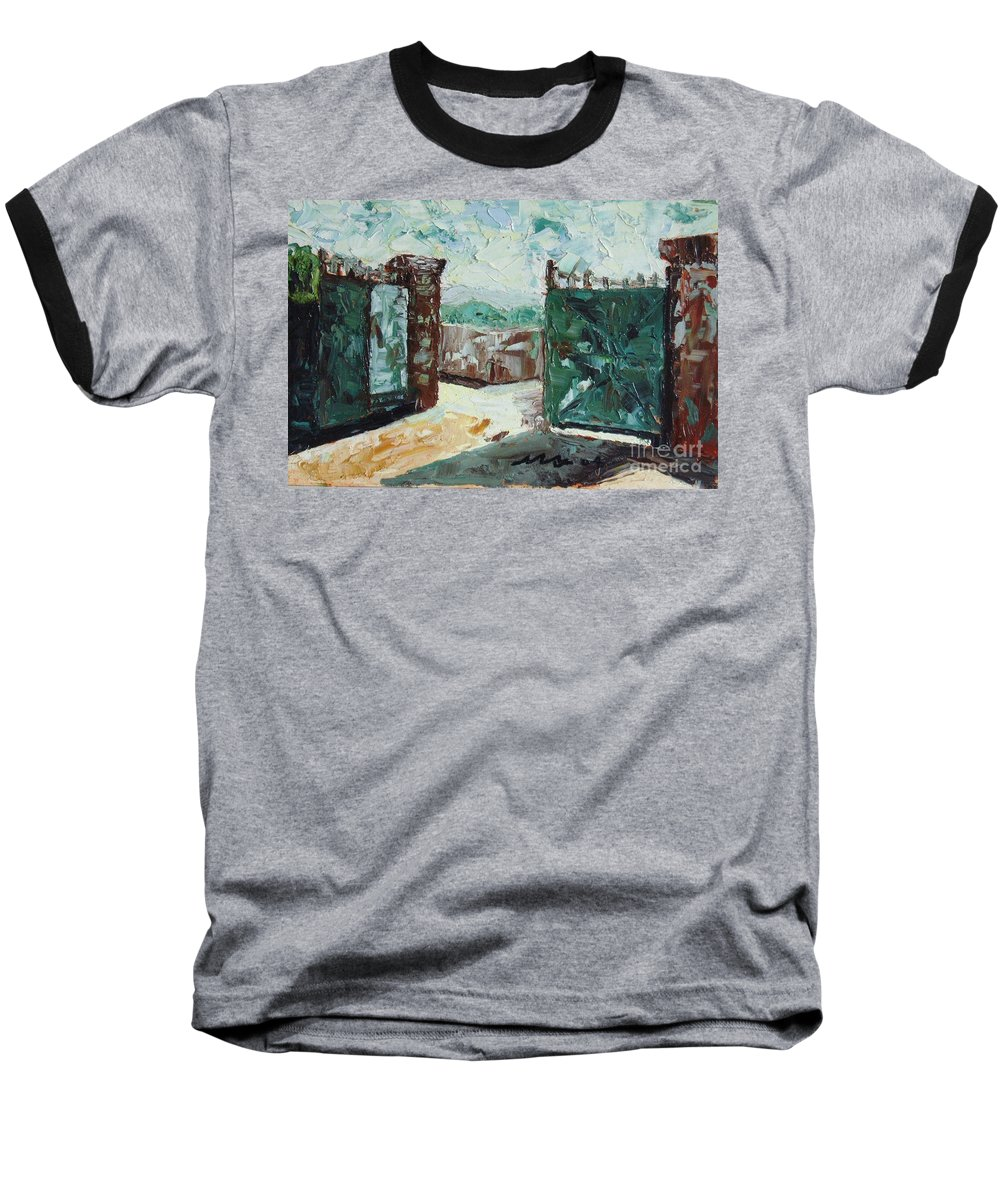 Gate Oil Canvas Baseball T-Shirt featuring the painting Gate2 by Seon-Jeong Kim