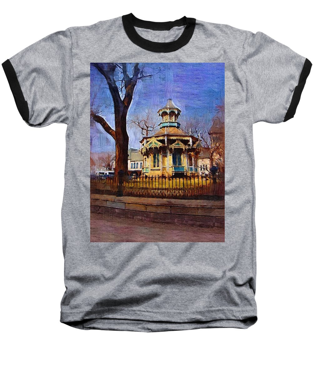 Architecture Baseball T-Shirt featuring the digital art Gazebo And Tree by Anita Burgermeister