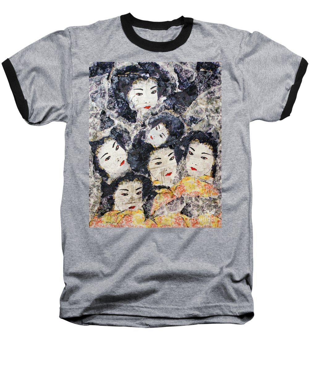 Geisha Baseball T-Shirt featuring the mixed media Geisha by Shelley Jones