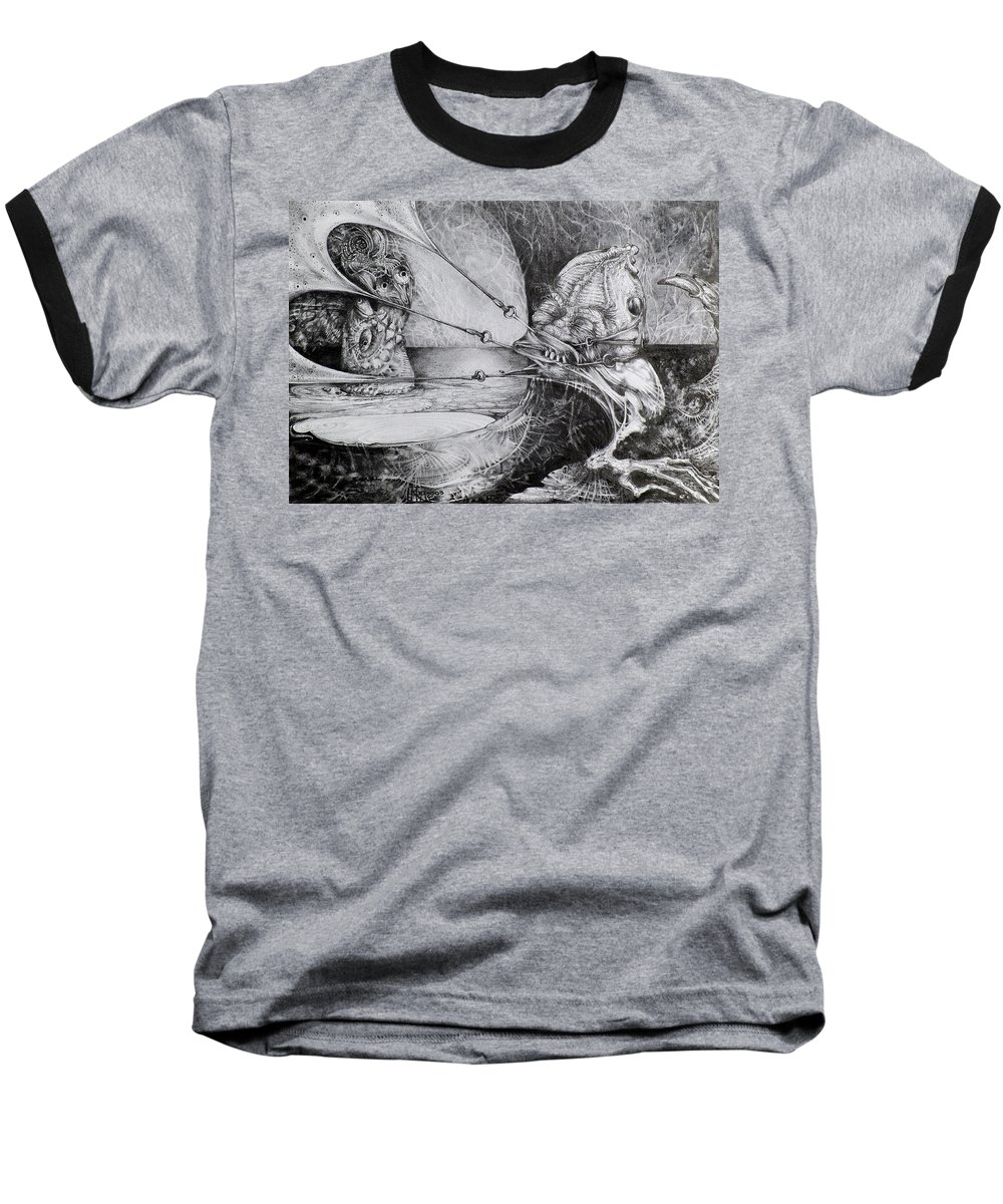 Surrealism Baseball T-Shirt featuring the drawing General Peckerwood In Purgatory by Otto Rapp