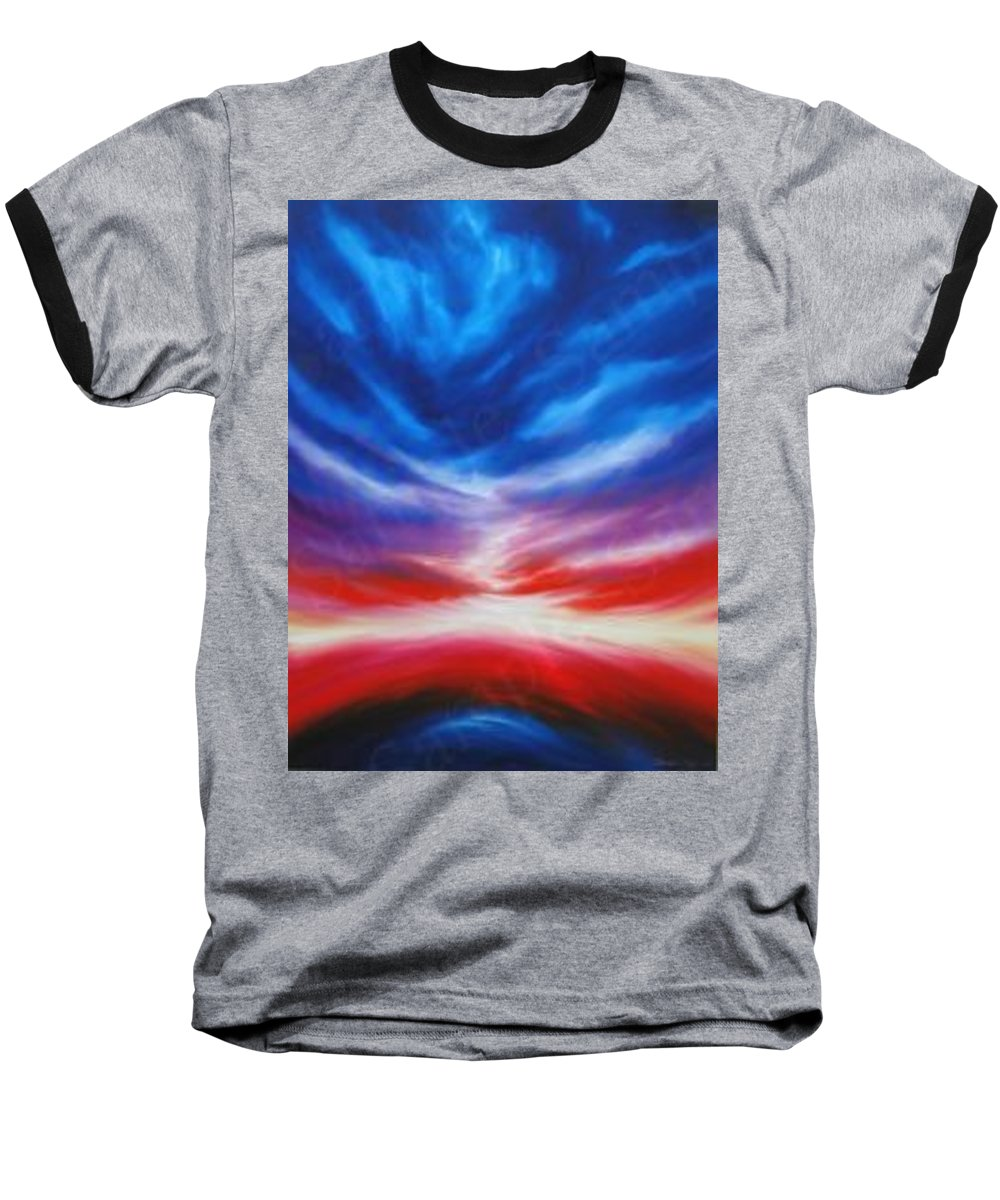 Tempest Baseball T-Shirt featuring the painting Genesis IIi by James Christopher Hill