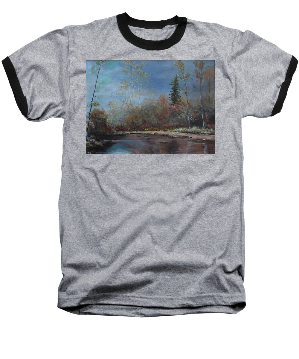 River Baseball T-Shirt featuring the painting Gentle Stream - Lmj by Ruth Kamenev