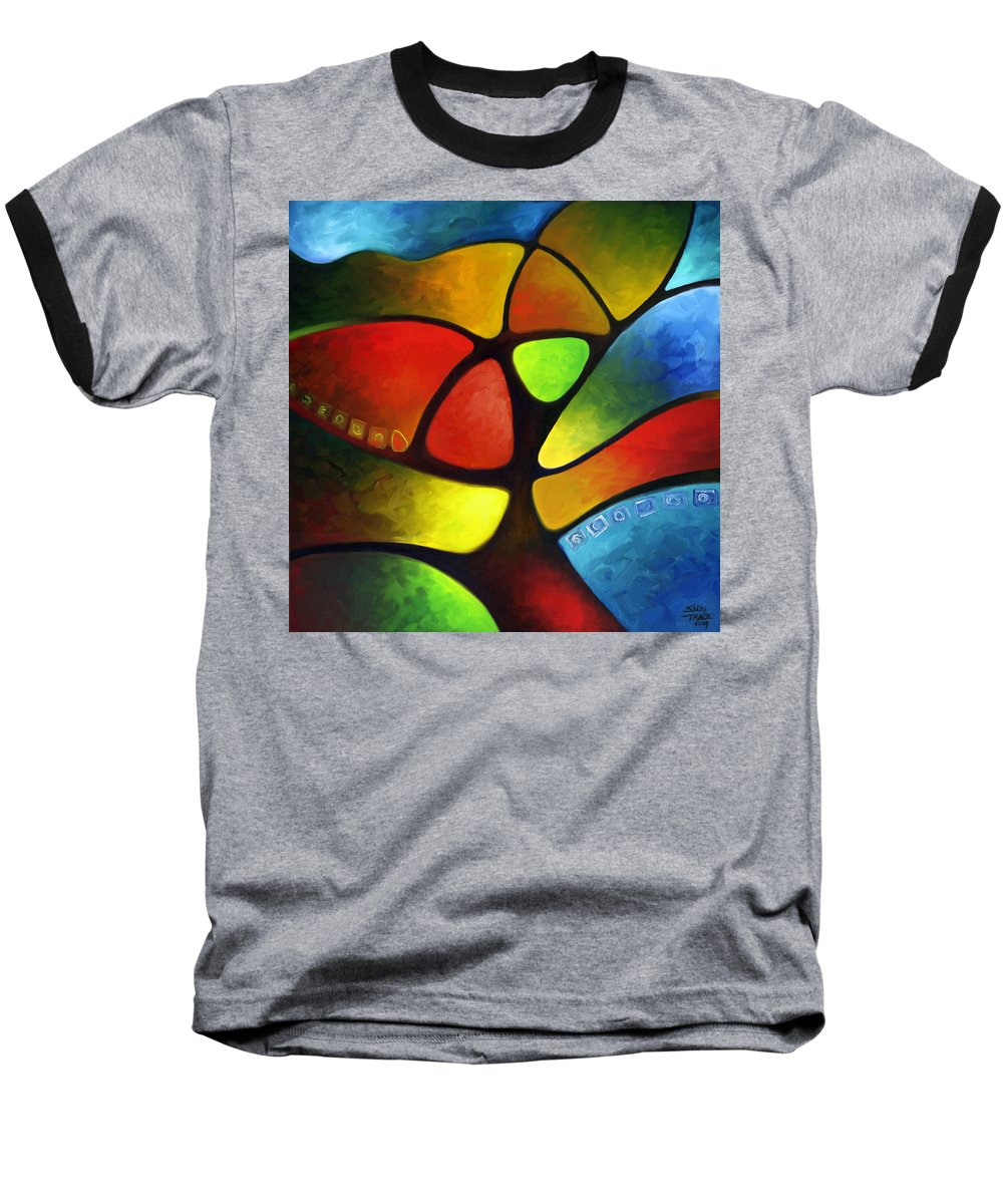 Tree Baseball T-Shirt featuring the painting Geometree by Sally Trace