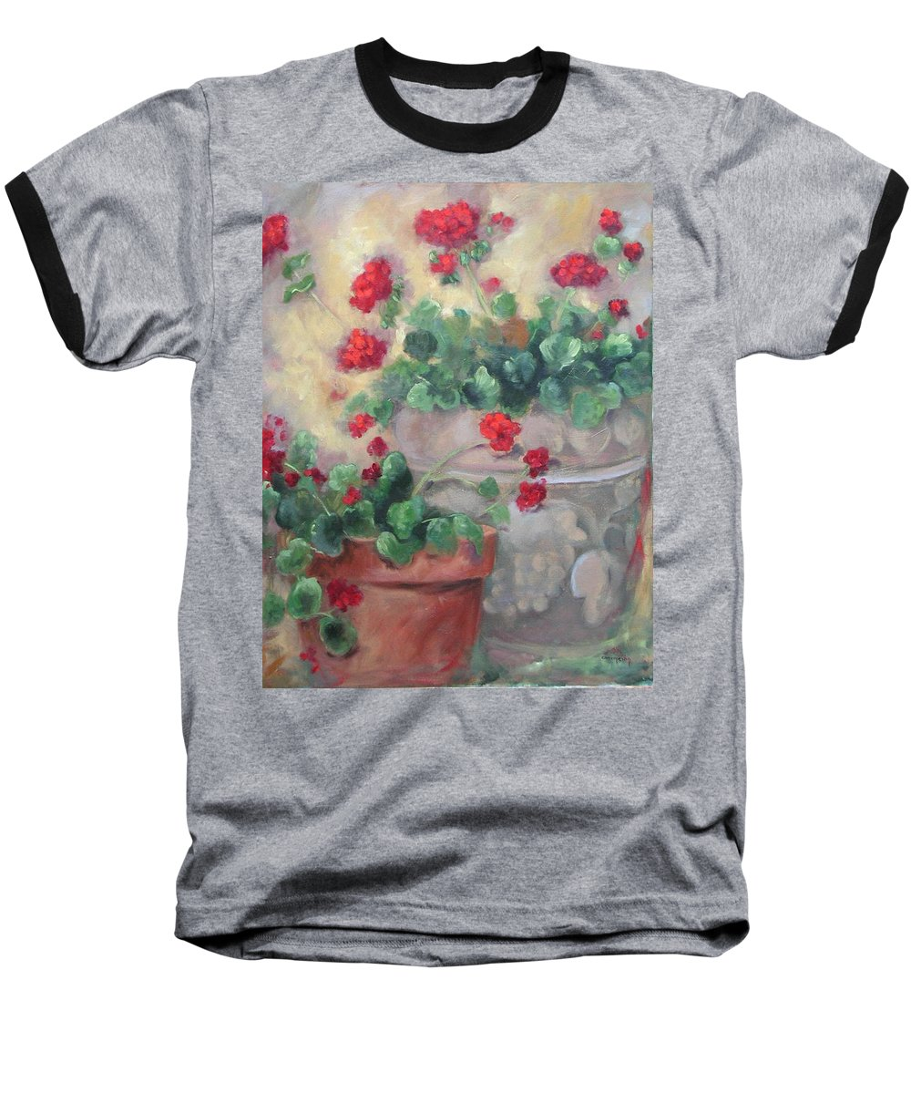 Geraniums Baseball T-Shirt featuring the painting Geraniums by Ginger Concepcion