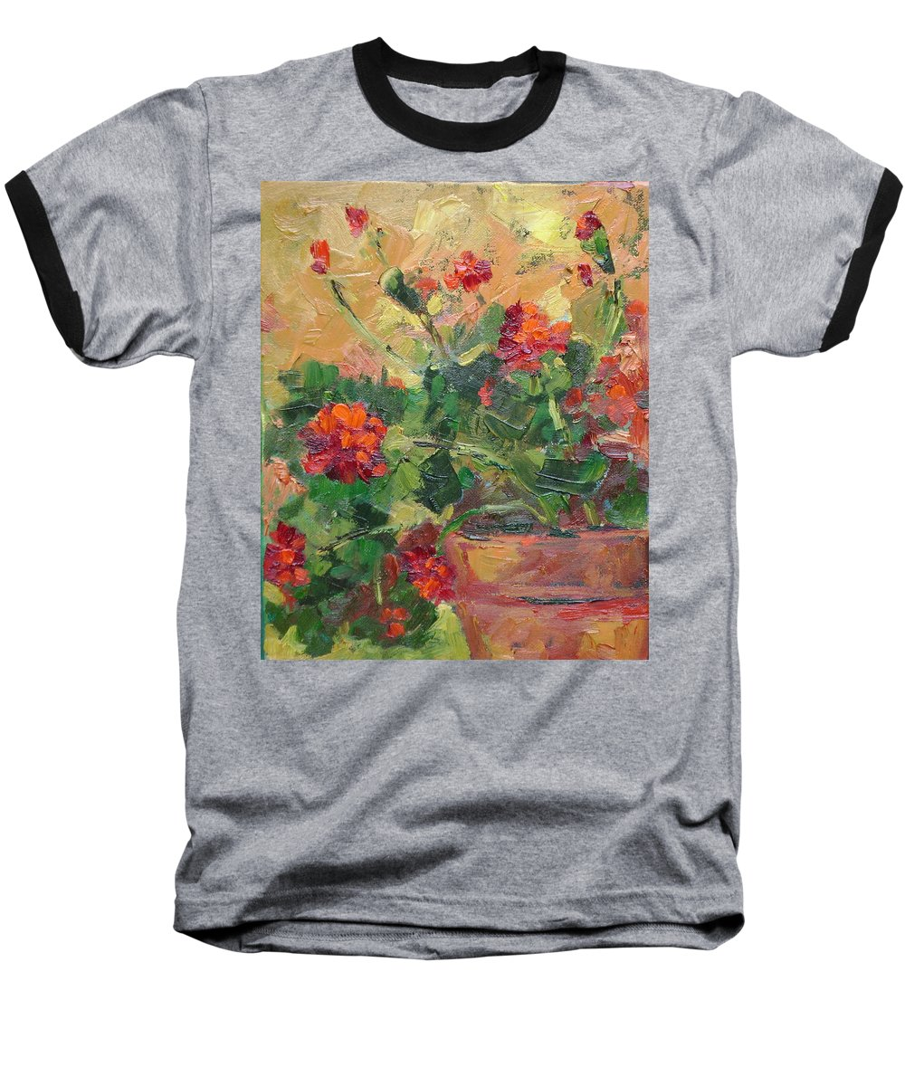 Geraniums Baseball T-Shirt featuring the painting Geraniums II by Ginger Concepcion