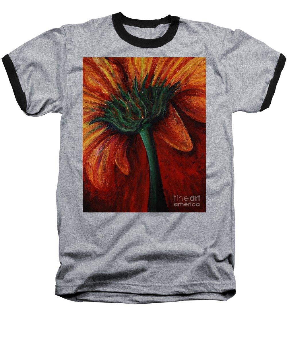 Gerbera Daisy.daisy Baseball T-Shirt featuring the painting Gerbera Daisy by Nadine Rippelmeyer