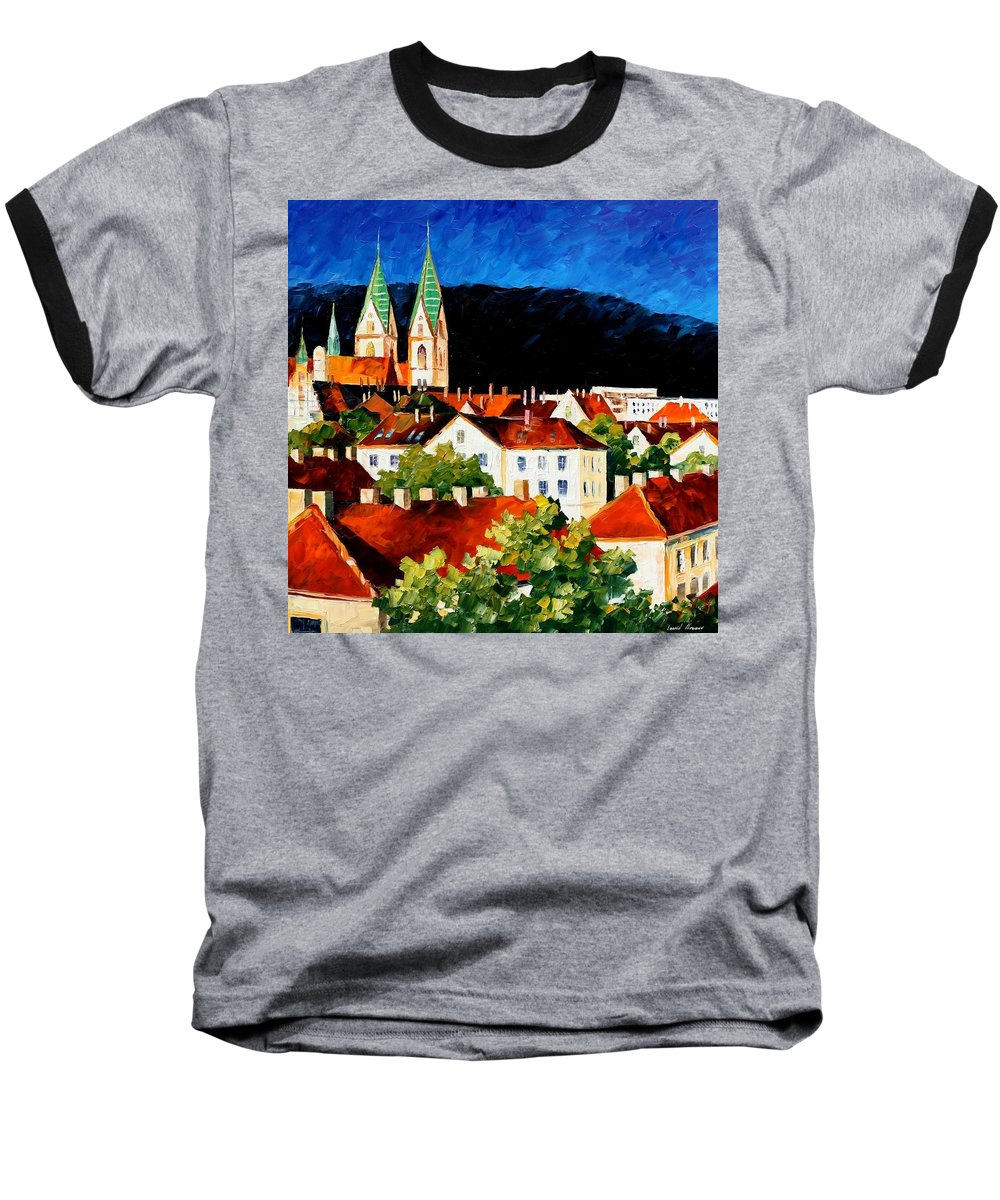 City Baseball T-Shirt featuring the painting Germany - Freiburg by Leonid Afremov