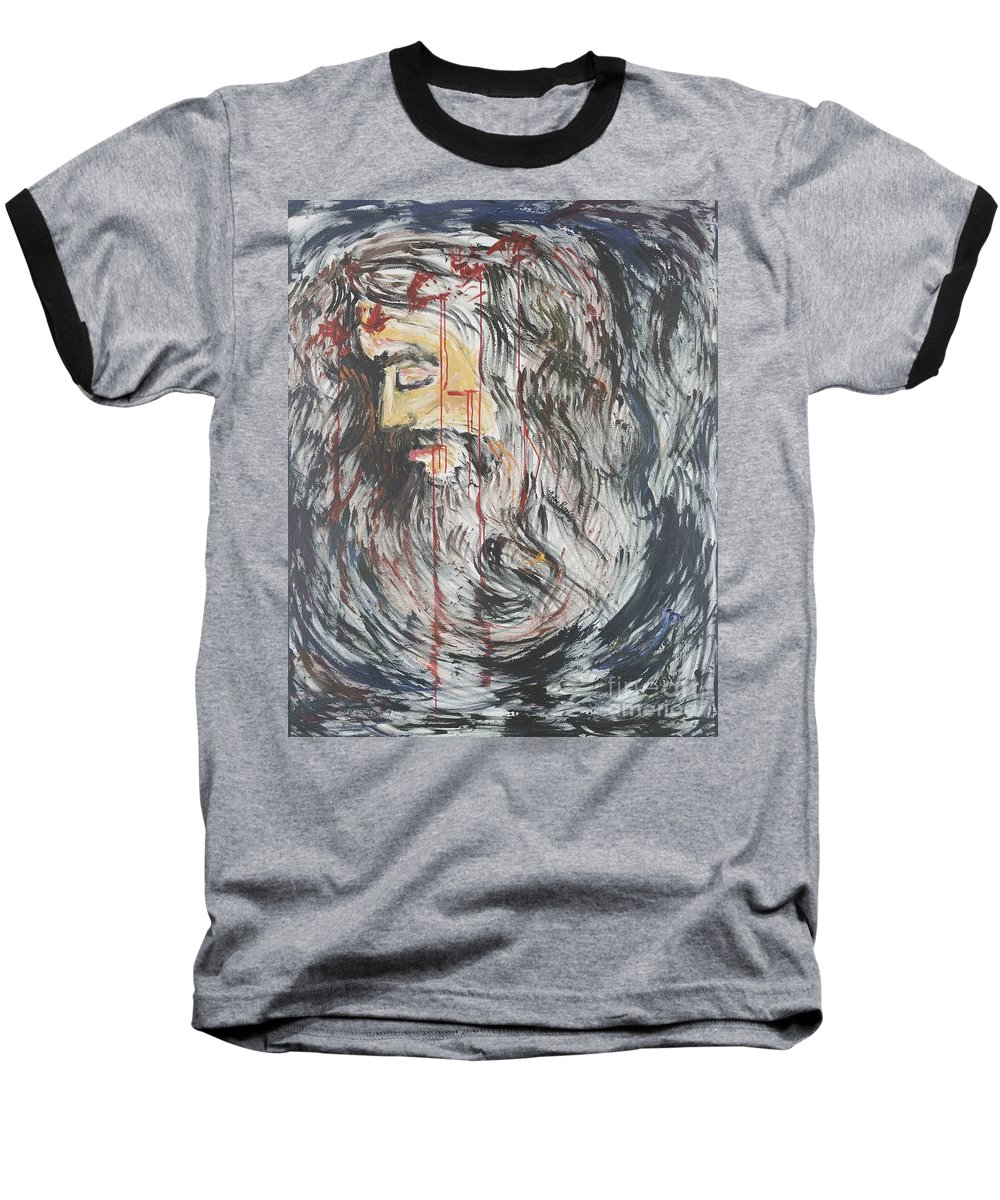 Jesus Baseball T-Shirt featuring the painting Gethsemane To Golgotha IIi by Nadine Rippelmeyer
