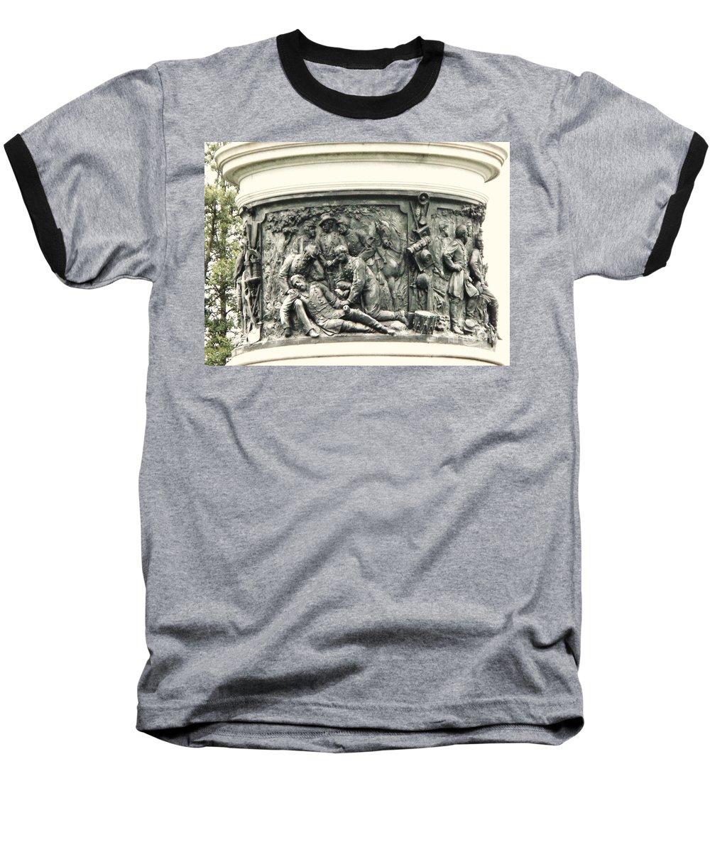 Gettysburg Baseball T-Shirt featuring the photograph Gettysburg Monument by Eric Schiabor
