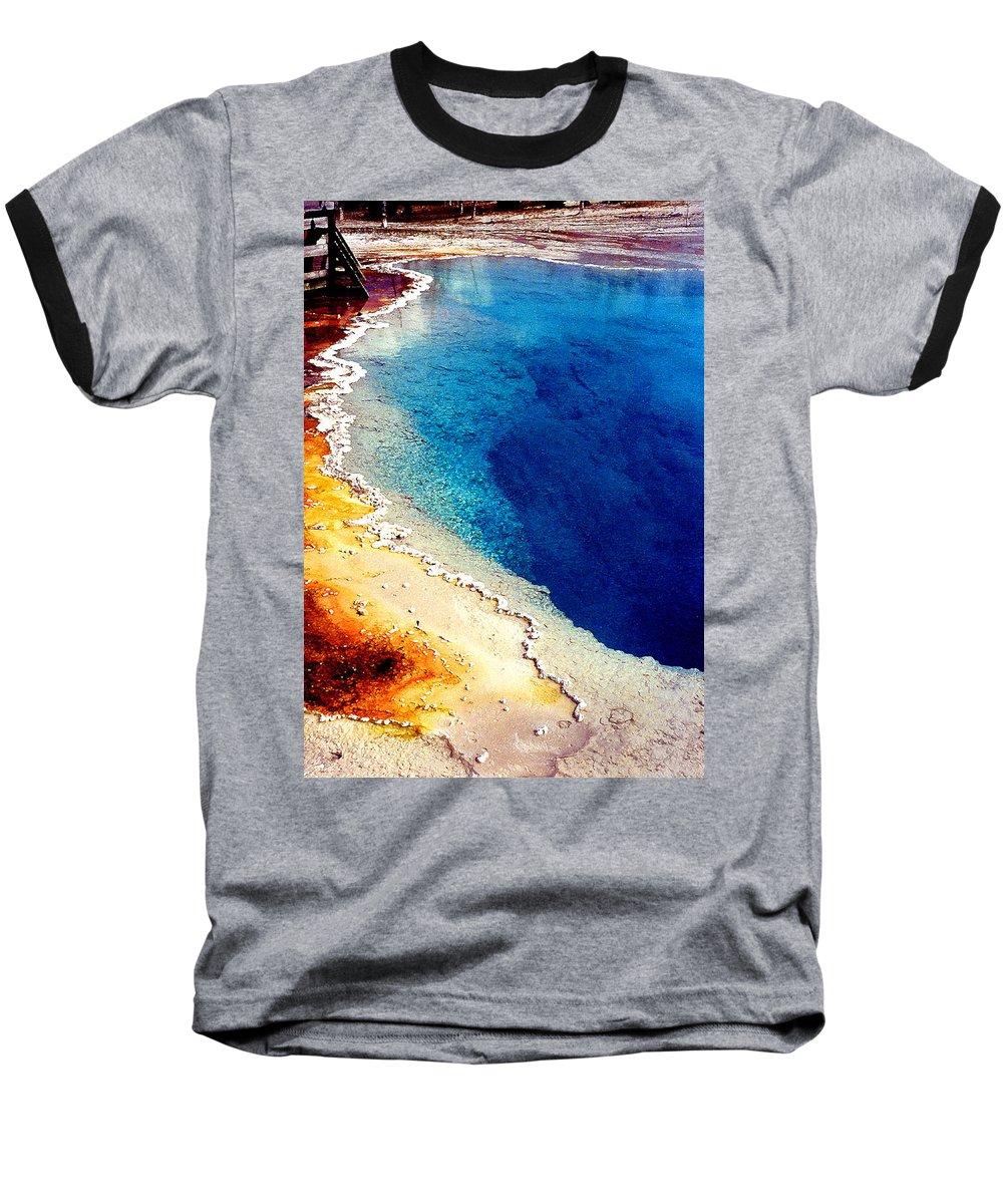 Geyser Baseball T-Shirt featuring the photograph Geyser Basin by Nancy Mueller