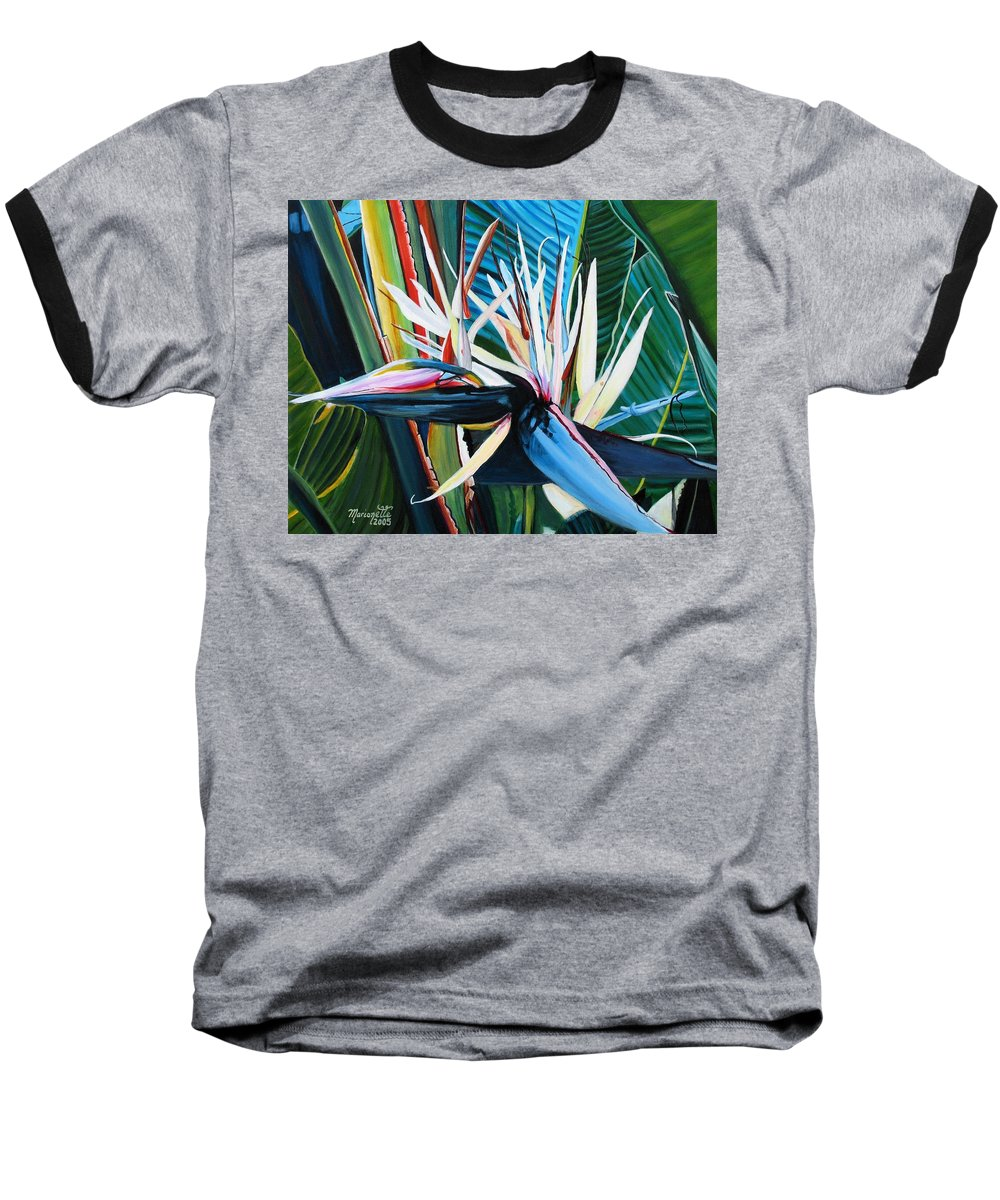 Bird Baseball T-Shirt featuring the painting Giant Bird Of Paradise by Marionette Taboniar