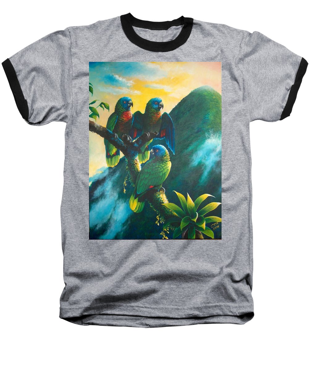 Chris Cox Baseball T-Shirt featuring the painting Gimie Dawn 1 - St. Lucia Parrots by Christopher Cox