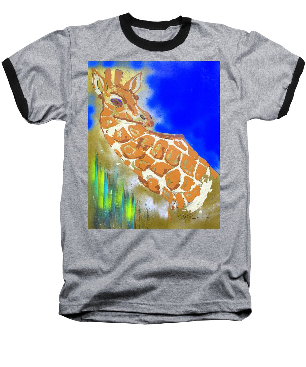 Giraffe Baseball T-Shirt featuring the painting Giraffe by J R Seymour
