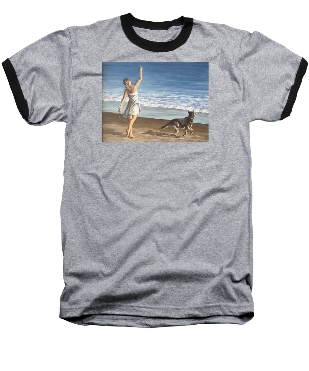Portrait Girl Beach Dog Seascape Sea Children Figure Figurative Baseball T-Shirt featuring the painting Girl And Dog by Natalia Tejera