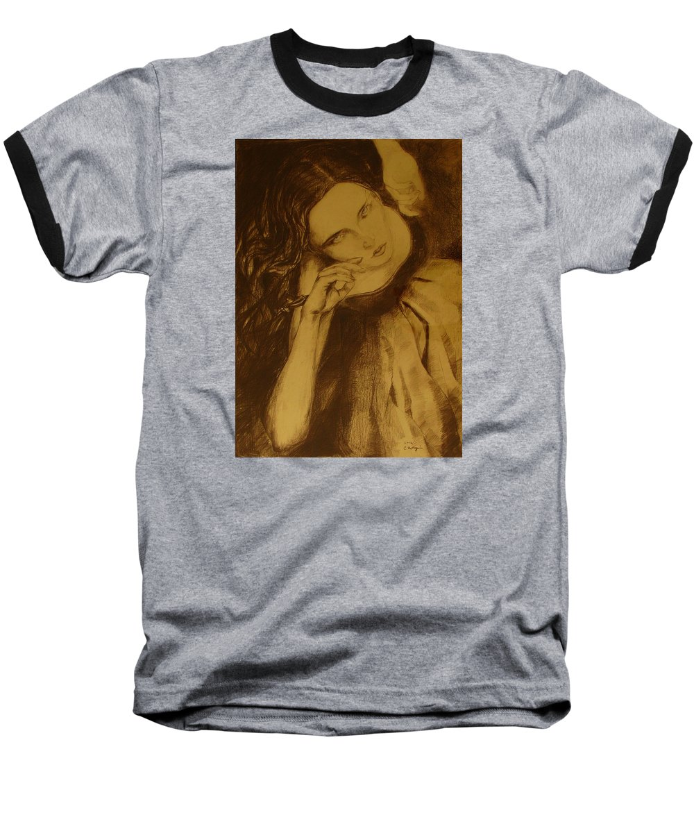 Art Drawings Baseball T-Shirt featuring the drawing Girl Dancing by Cristina Rettegi