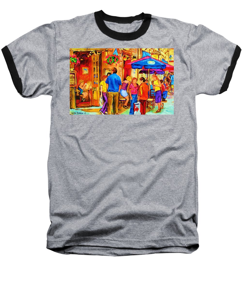 Montreal Cafe Scenes Baseball T-Shirt featuring the painting Girl In The Cafe by Carole Spandau