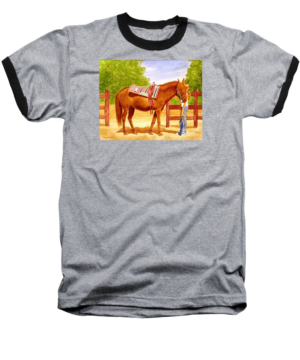 Equine Baseball T-Shirt featuring the painting Girl Talk by Stacy C Bottoms