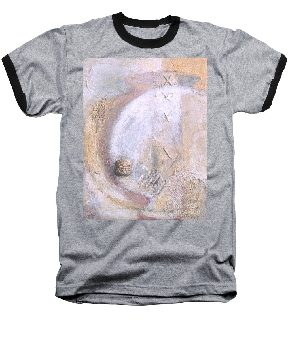 Collage Baseball T-Shirt featuring the painting Give And Receive by Kerryn Madsen-Pietsch
