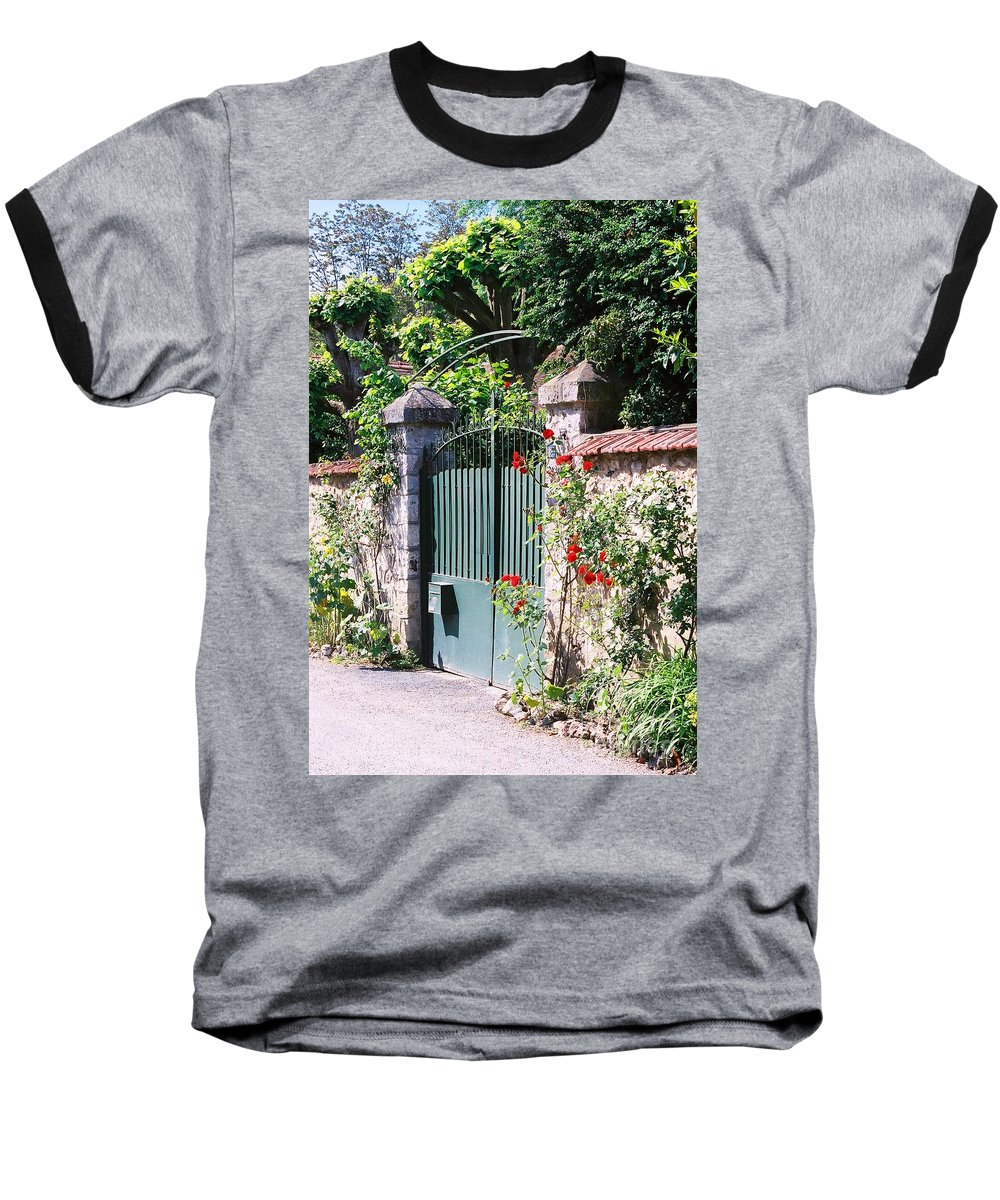 Giverny Baseball T-Shirt featuring the photograph Giverny Gate by Nadine Rippelmeyer