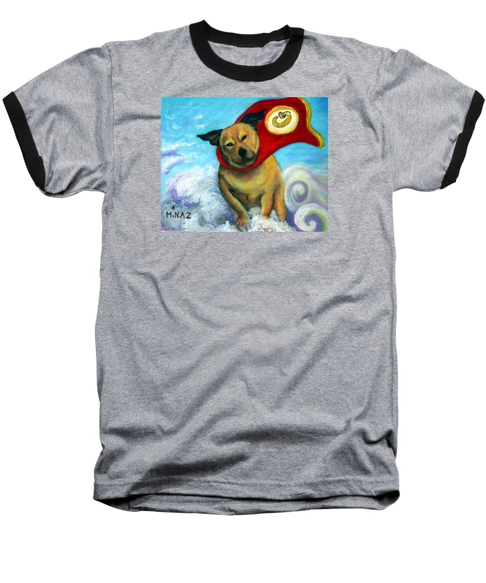 Dog Baseball T-Shirt featuring the painting Gizmo The Great by Minaz Jantz