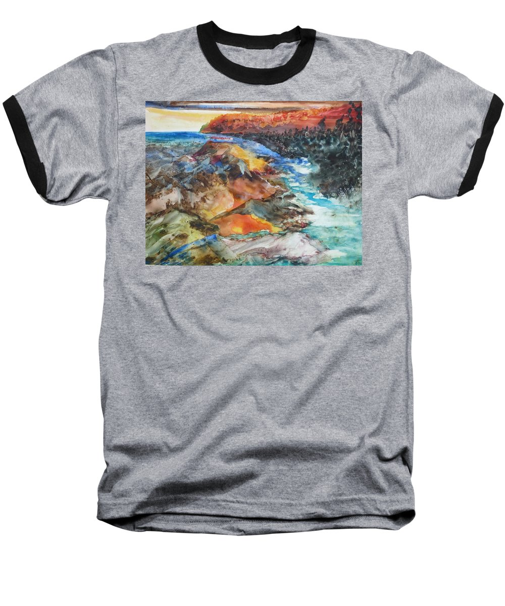 Abstract Baseball T-Shirt featuring the painting Glacial Meltdown by Ruth Kamenev