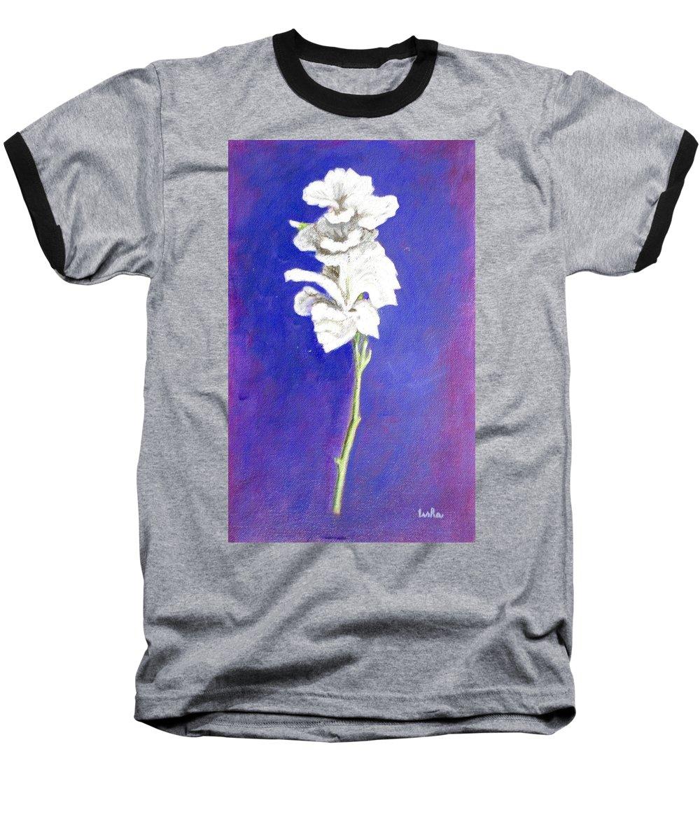 Flower Baseball T-Shirt featuring the painting Gladiolus 1 by Usha Shantharam