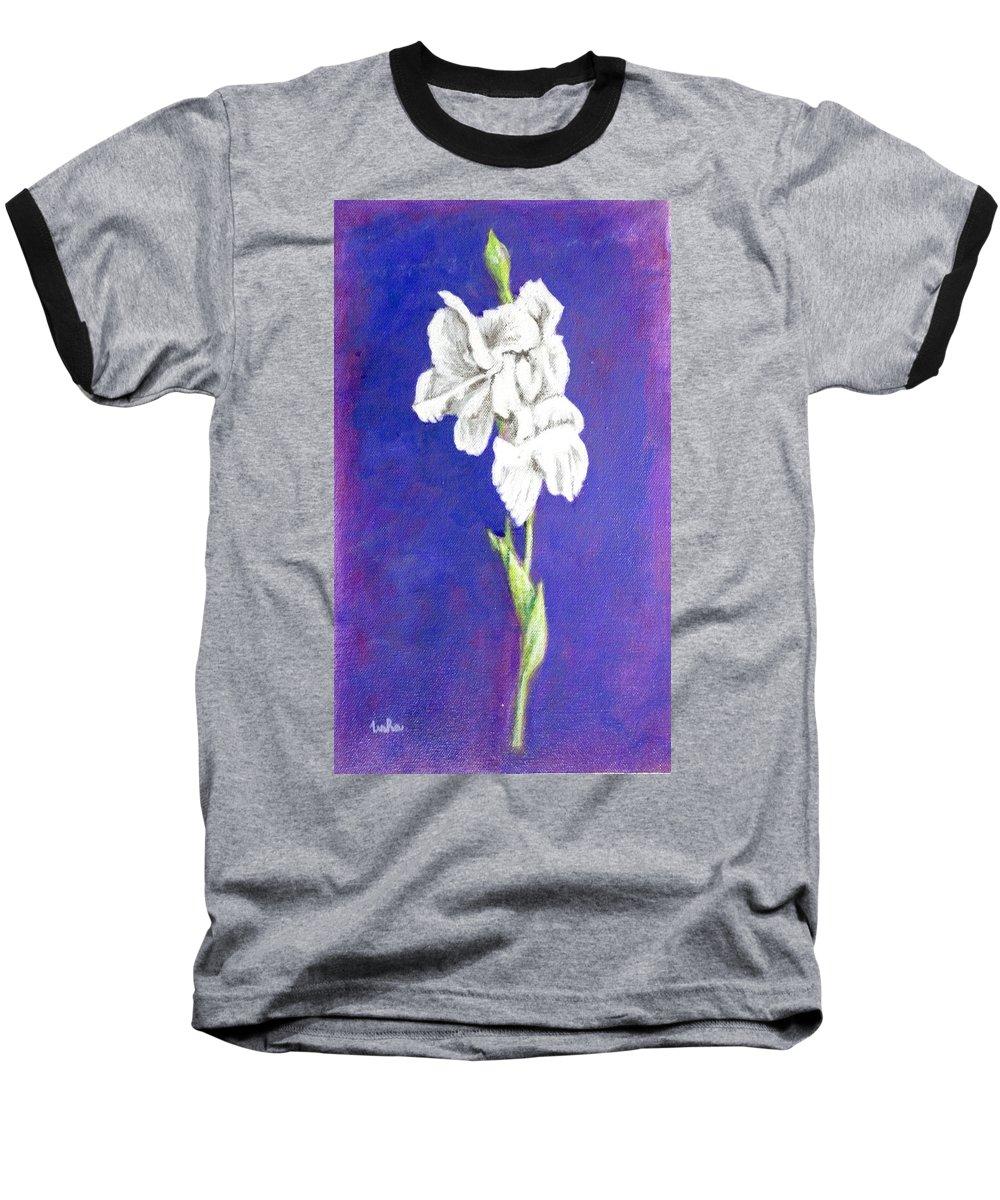 Baseball T-Shirt featuring the painting Gladiolus 2 by Usha Shantharam