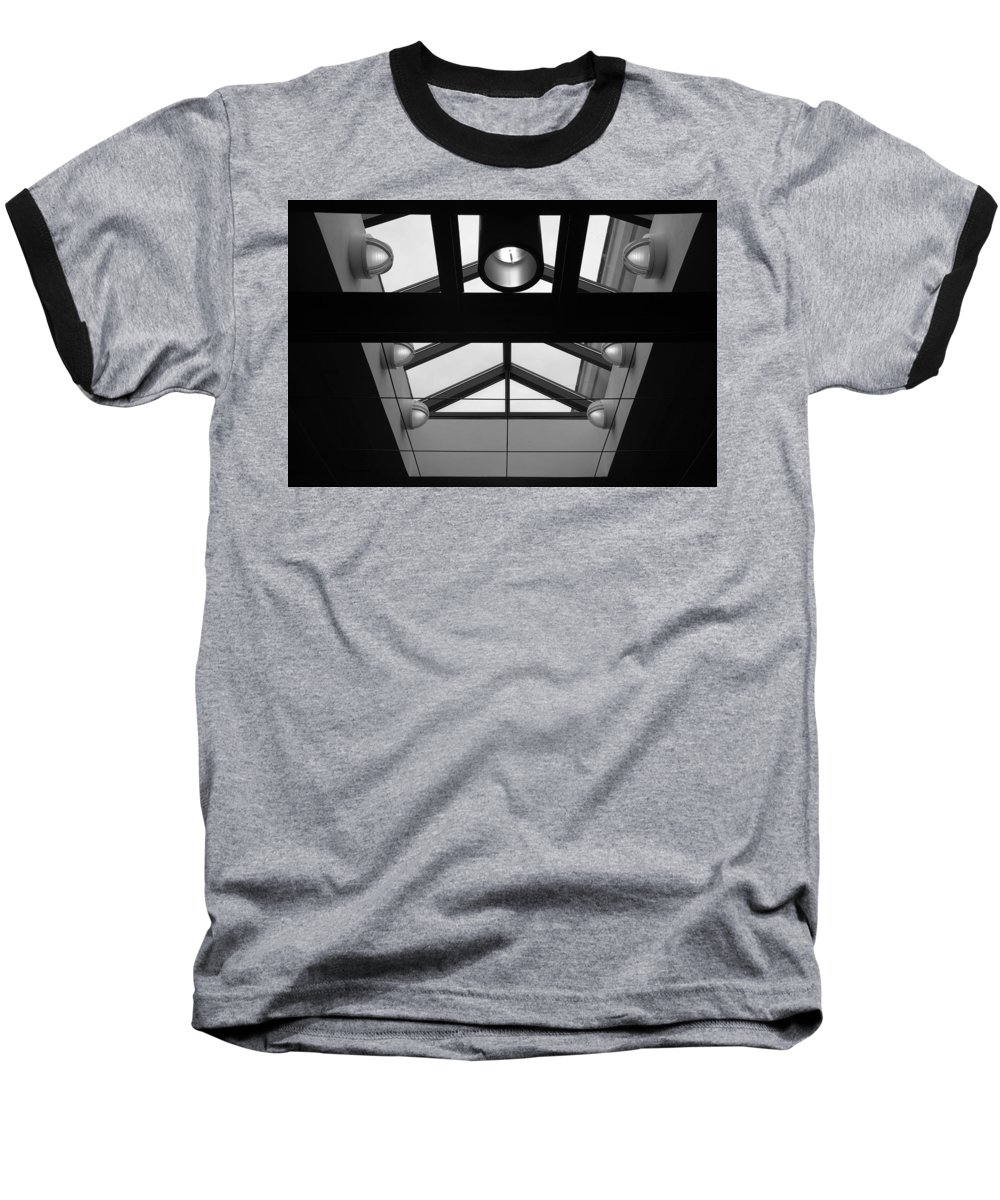 Black And White Baseball T-Shirt featuring the photograph Glass Sky Lights by Rob Hans