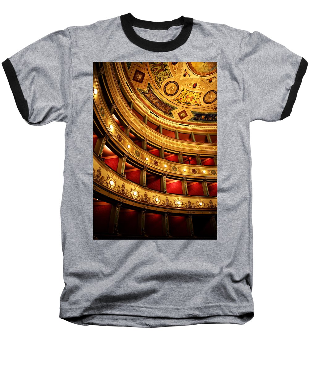 Theatre Baseball T-Shirt featuring the photograph Glorious Old Theatre by Marilyn Hunt