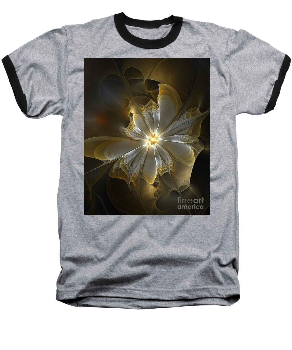 Digital Art Baseball T-Shirt featuring the digital art Glowing In Silver And Gold by Amanda Moore