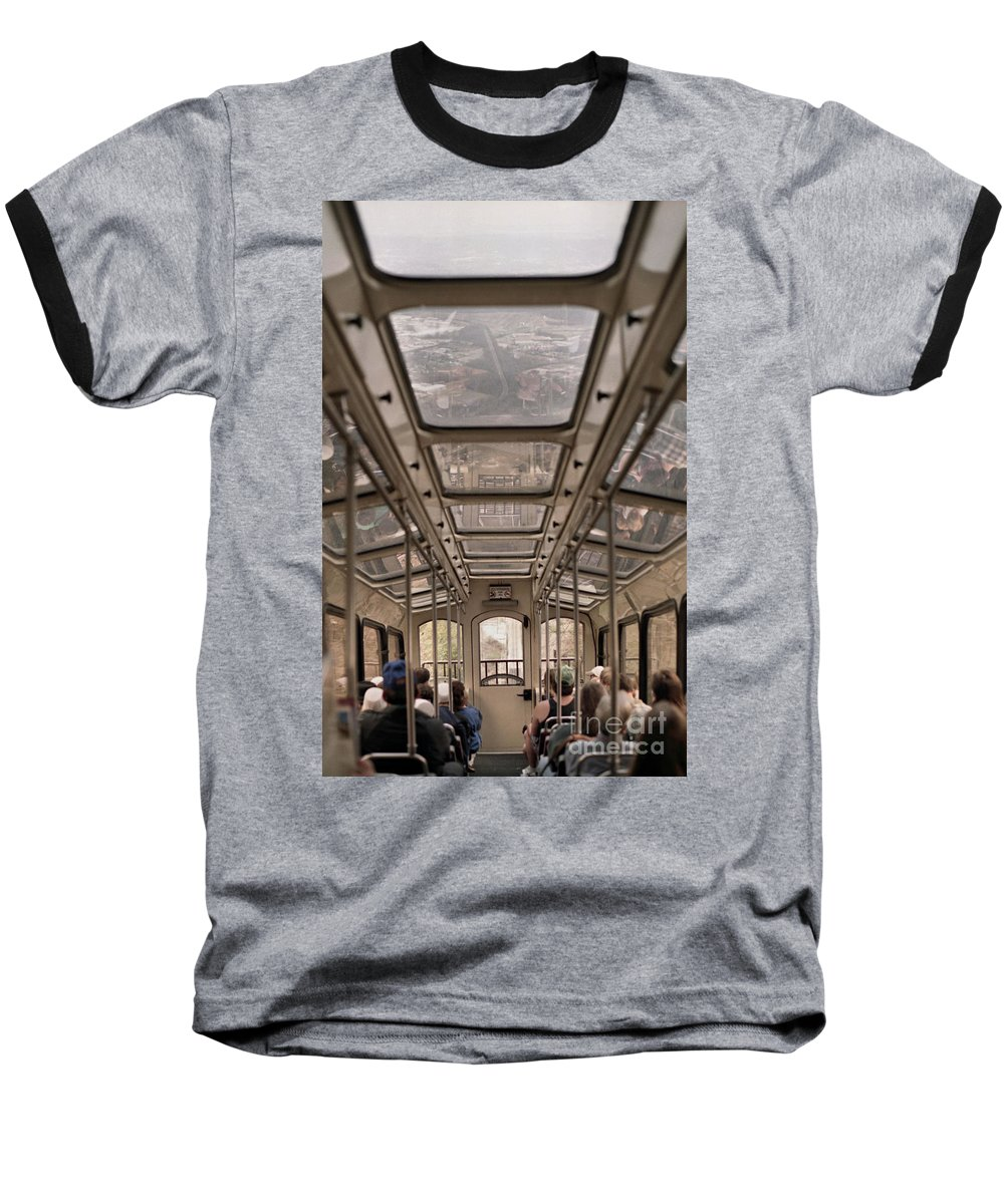 Cable Car Baseball T-Shirt featuring the photograph Going Down by Richard Rizzo
