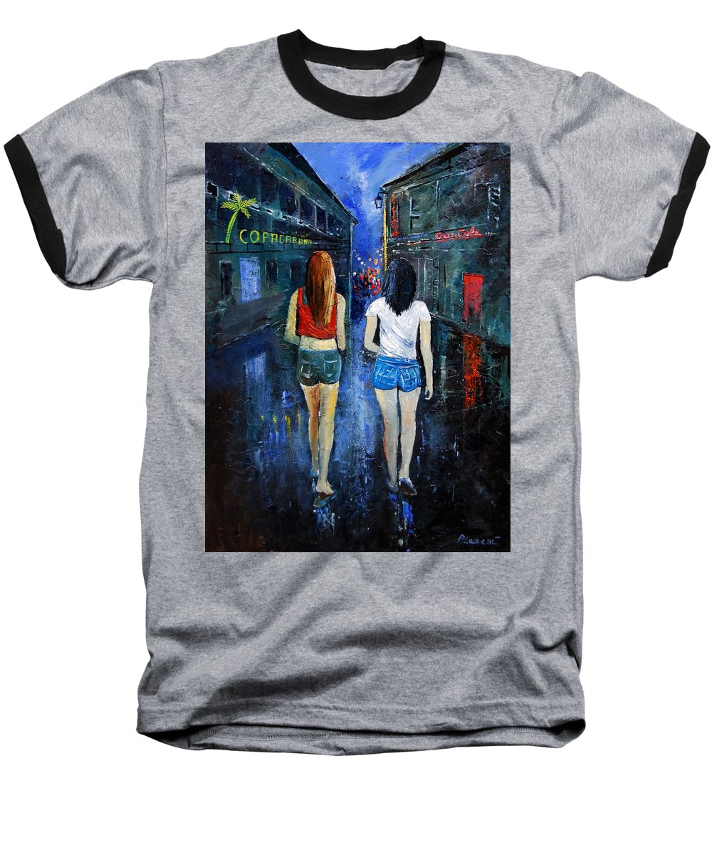 Girl Baseball T-Shirt featuring the painting Going Out Tonight by Pol Ledent