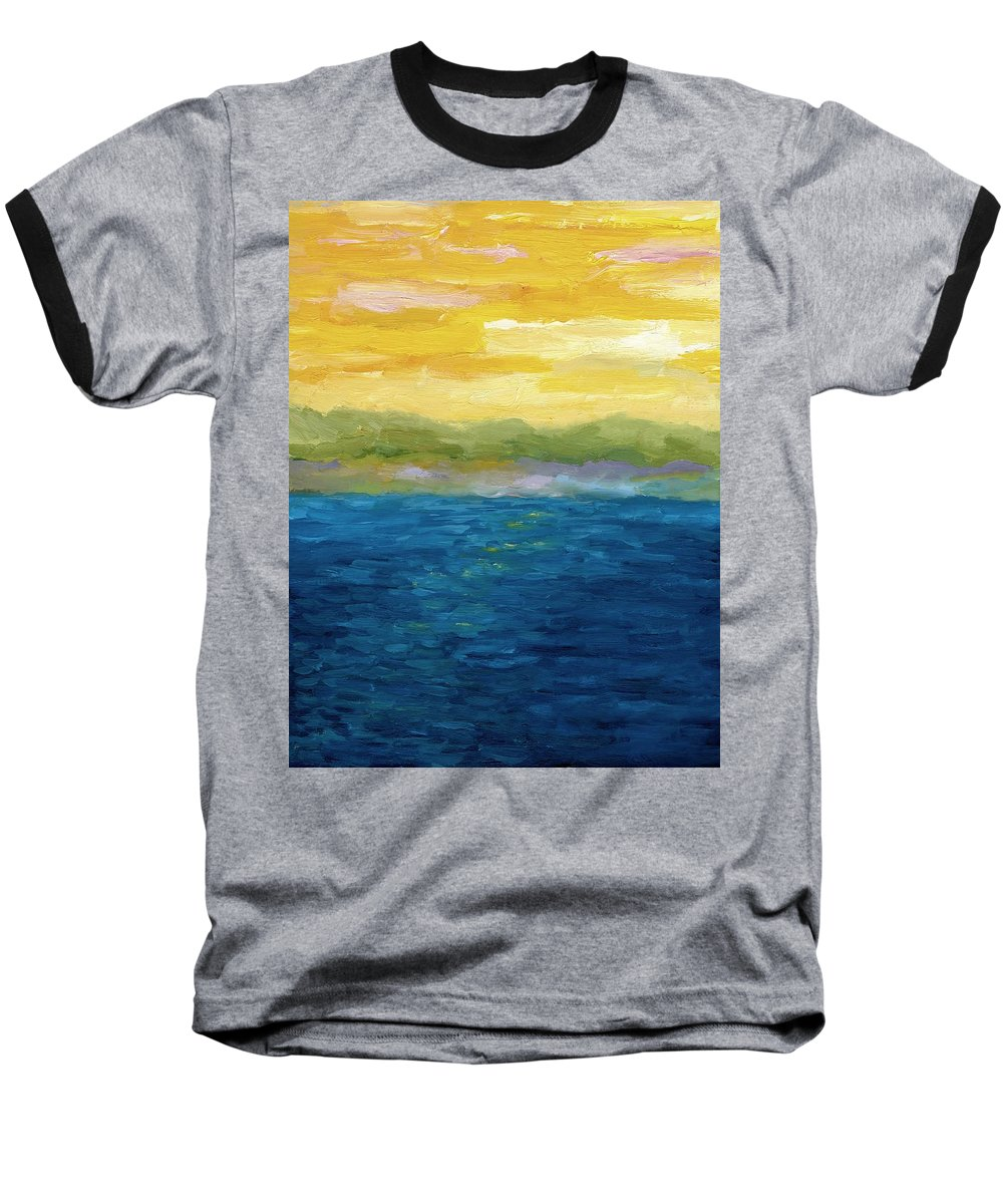 Lake Baseball T-Shirt featuring the painting Gold And Pink Sunset by Michelle Calkins