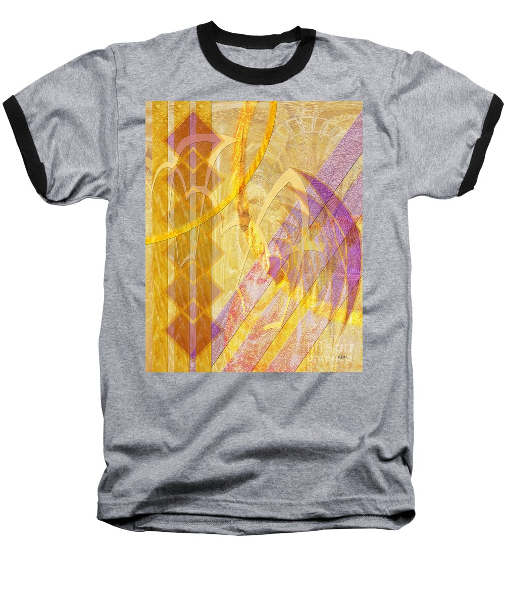 Gold Fusion Baseball T-Shirt featuring the digital art Gold Fusion by John Beck