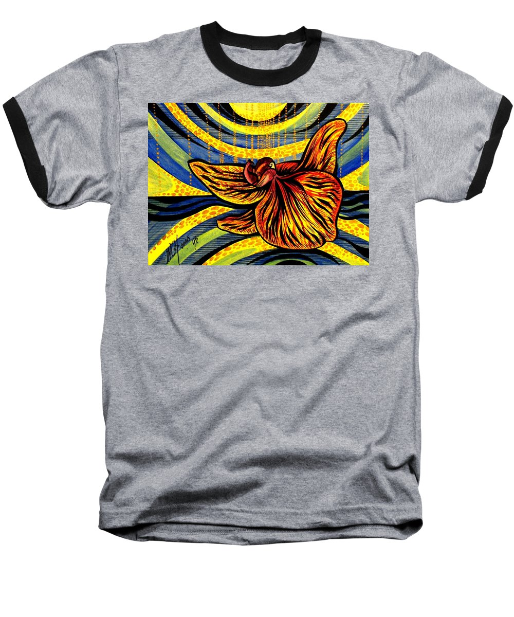 Inga Vereshchagina Baseball T-Shirt featuring the painting Gold Orchid by Inga Vereshchagina