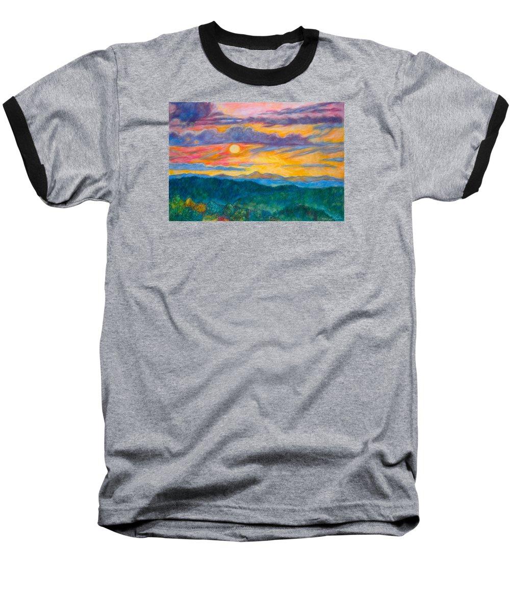 Landscape Baseball T-Shirt featuring the painting Golden Blue Ridge Sunset by Kendall Kessler