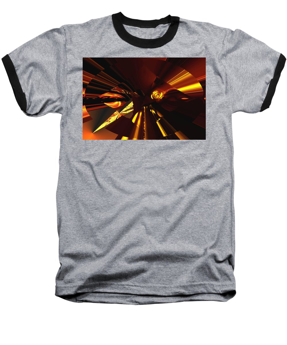 Abstract Baseball T-Shirt featuring the digital art Golden Brown Abstract by David Lane