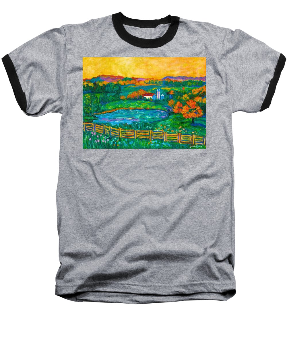 Landscape Baseball T-Shirt featuring the painting Golden Farm Scene Sketch by Kendall Kessler