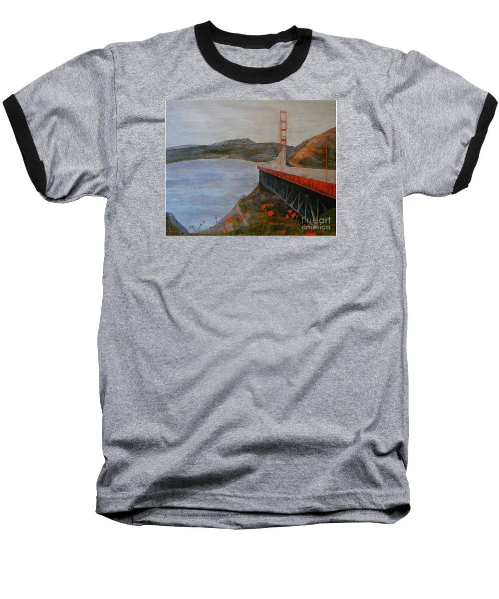 Golden Gate Bridge Baseball T-Shirt featuring the painting Golden Gate Bridge by Ellen Beauregard