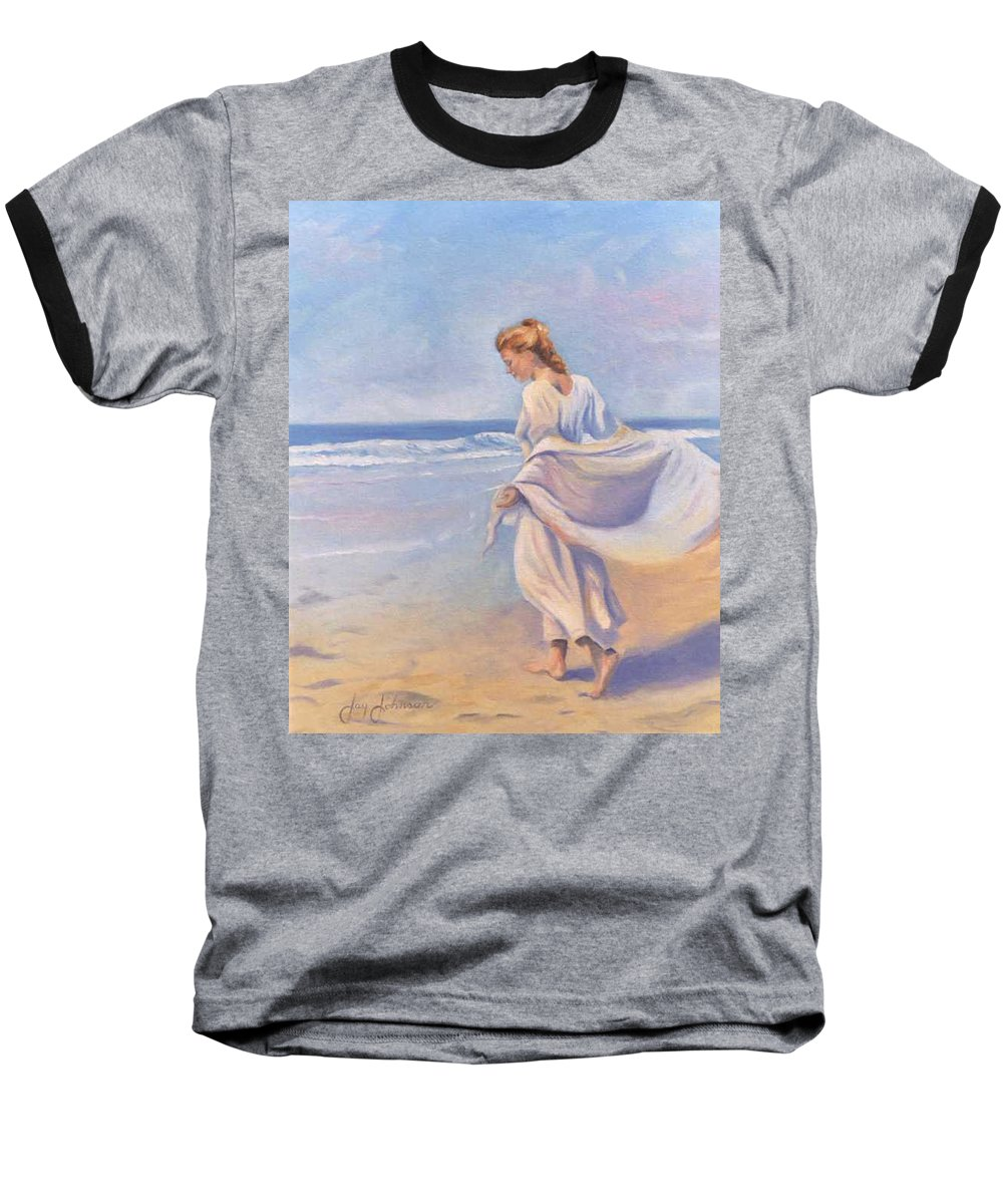 Beach Baseball T-Shirt featuring the painting Golden Girls by Jay Johnson