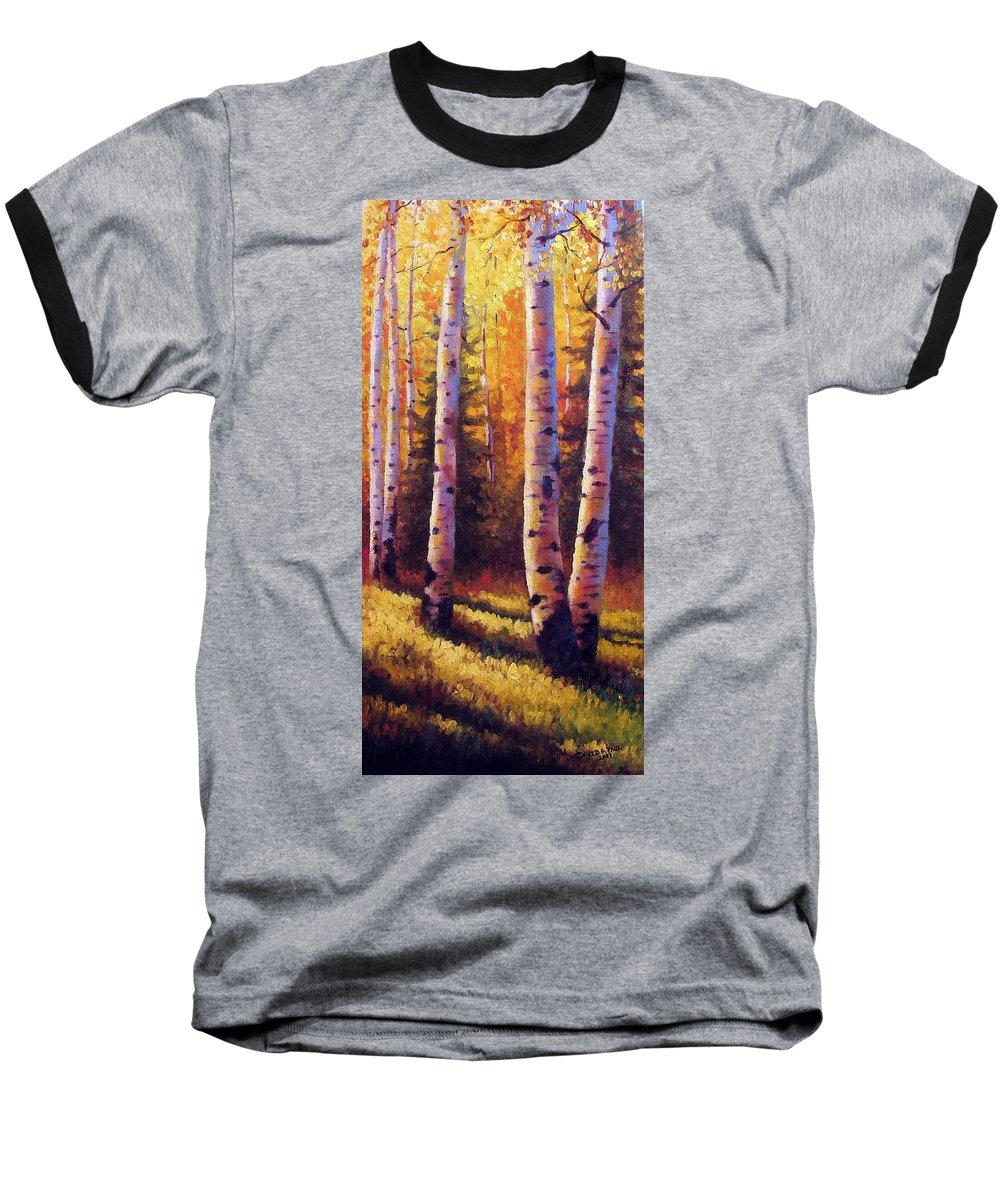 Light Baseball T-Shirt featuring the painting Golden Light by David G Paul